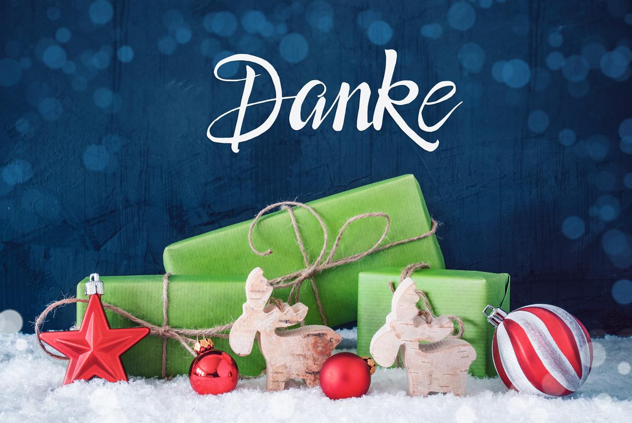 Weihnachtswünsche um Danke zu sagen